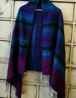 Huge Scarf, Vintage Indian Style Blue/ Red/Green.Shawl.Throw Wool Cotton Striped