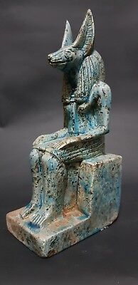ANCIENT EGYPTIAN ANTIQUES STATUE Of GOD ANUBIS Blue Glazed Stone 3100-2890 BC