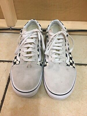 Vans White & Black Suede Anaheim Factory Old Skool 36 Check Trainers, Size UK 10