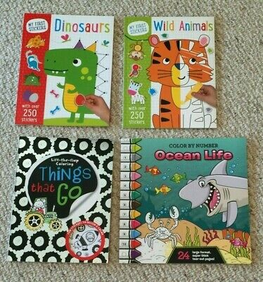 Lot Of 4 New Coloring Books Things That Go Ocean Life Dinosaurs, Animals BN Boys