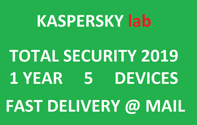 Kaspersky Total Security 2019 5 Devices/1 Year|EU key|Fast delivery via message