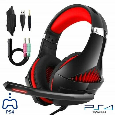 Cuffie Gaming per PS4 PC XBOX ONE con LED Microfono Splitter Audio Bass Surround