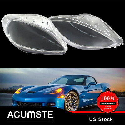 Pair For 2005-2013 C6 Corvette Headlight Headlamp Replacement Clear Cover Lens
