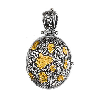 Gerochristo P3331N ~Sterling & Gold Plated Silver Medieval Floral Locket Pendant