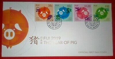 Fiji 2019 The Year of Pig FDC Set 4 Chinese Lunar Year Pig Stamps NEW