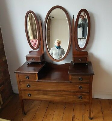 Vintage Antique mahogany inlaid dressing table chest of drawers bevelled mirrors