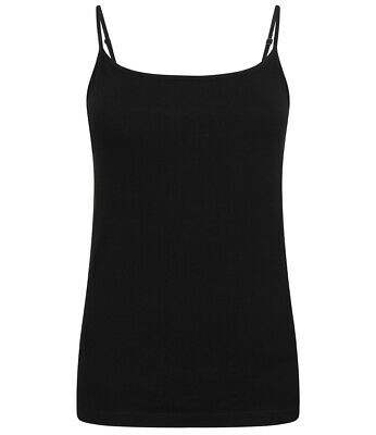 Womens Ladies Feel Good Cotton Elastane Spaghetti Strap Vest Cami Tank Top
