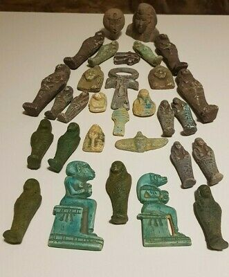 ANCIENT EGYPTIAN ANTIQUES Rare 30 Amulets EGYPT Faience Stone 1816 BC
