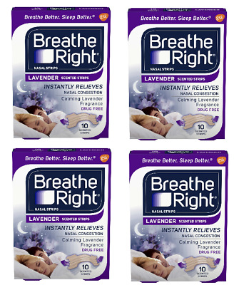 40 BREATHE RIGHT Nasal Strips LAVENDER Adult Size Nose Band Stop Snoring Breath