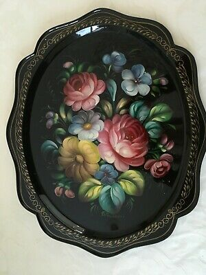 Antique Vintage Hand Painted Metal Tray Beriozka from USSR signed