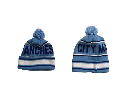Man City  Style  Adult  Bobble Hat  (Sky Blue  White and Navy)   FREE (UK) P+P