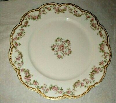 """Antique Haviland & Co Limoges France 8 1/2"""" Luncheon Plate Pink Flowers Roses"""