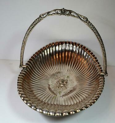 Antique Meriden Britannia Co Silver plate Repousse Footed Basket tray w/handle
