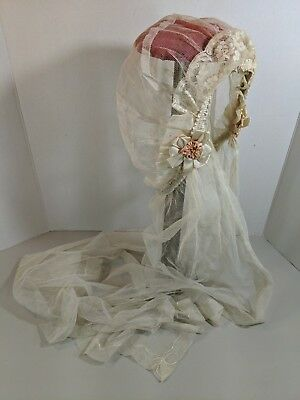 Vtg Antique 1920 Netting Tulle Flapper Bridal Wedding Veil Cap Floral Embroidery