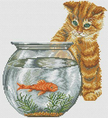 Cat and Goldfish - Cross Stitch Chart