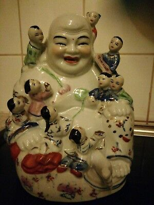 Rare Vintage Laughing Buddha with 9 children (usually has 5)