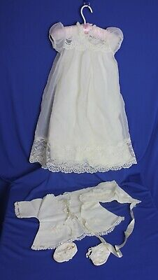 Antique Vintage  Baby Christening Gown Dress Complete Ivory Chiffon Lace