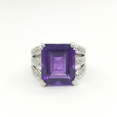 Ladies Ring 18ct (750, 18K) White Gold Diamond & Natural Amethyst Dress Ring