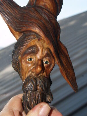 wood spirit Tree spirit SMC large Art ,cabin PINE KnotHead original wood carving
