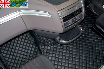 Daf Xf 106 Automatic Truck Eco Leather Floor Mats Set- Black - After 67 Plate