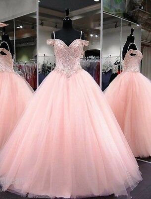 ed4654f7c831 Pink Princess Bead Tulle Ball Quinceanera Dress Sweet 16 Party Prom Formal  Gown