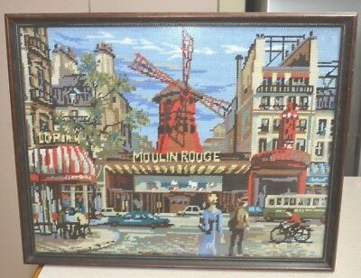 Vintage Moulin Rouge Framed Tapestry Needlework Non Reflective Glass 49 x 35cm
