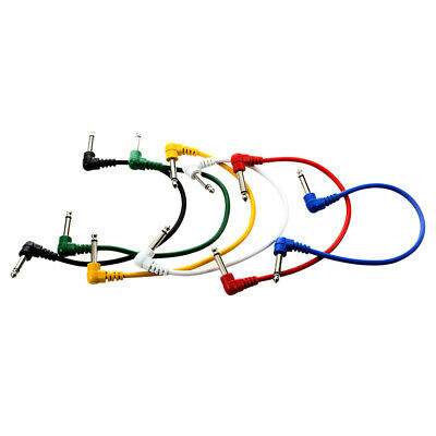 Set of 6pcs Colorful Guitar Patch Cables Angled for Guitar Effect Pedals W2K1