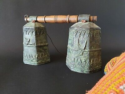 Old Tibetan Double Bronze / Brass Bells  …beautiful collection piece