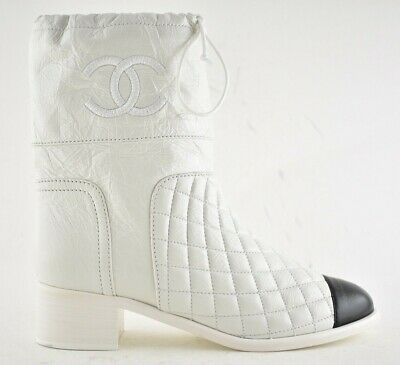 1f348161 CHANEL QUILTED LEATHER CC Ankle Boots SZ 39 - $635.00 | PicClick