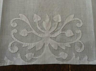 Vintage Set 3 Madeira Linen Hand Towels White Embroidered Shadow Work