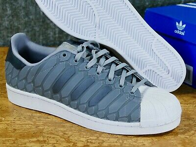 new product 49ee3 96f70 Adidas Superstar Sz 12 Xeno Silver Grey 3m snake-skin onyx reflective D69367