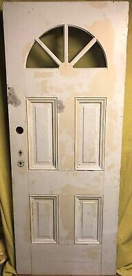 Antique Victorian Wood Exterior French Entry Door /w Half-moon Glass 32x80