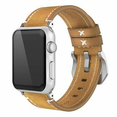 Genuine Leather Wrist Band Strap For Apple Watch 1/2/3/4 iWatch 42mm/44mm Brown