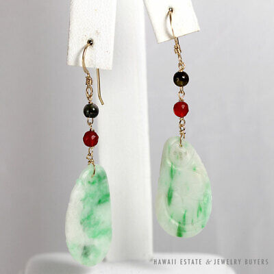 Vintage Jade White Green Carved Delicate 14K Yellow Gold Fish Hook Earrings