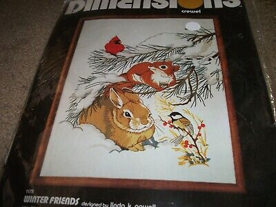 """DIMENSIONS : Winter Friends Crewel Embroidery Kit  16"""" X 20 """""""