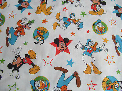 Disney Mickey Mouse Crib Toddler FLAT Bed Sheet Goofy Donald Duck Cutter Fabric