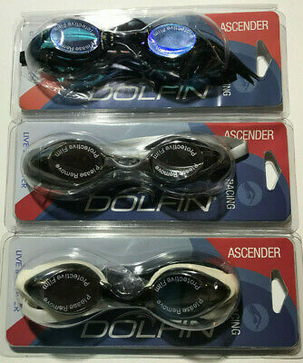 Dolfin Ascender Racing Goggle: MIRRORED Silver MSI, Black MBK, White MWH