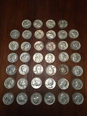 Roll of 40 90% Silver Washington Quarters, $10 Face Value, Free Shipping!