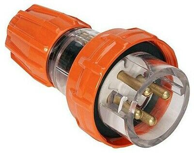 Iso STRAIGHT PLUG 500V AC 4-Round Pin, Electric Orange- 10A, 20A Or 32A