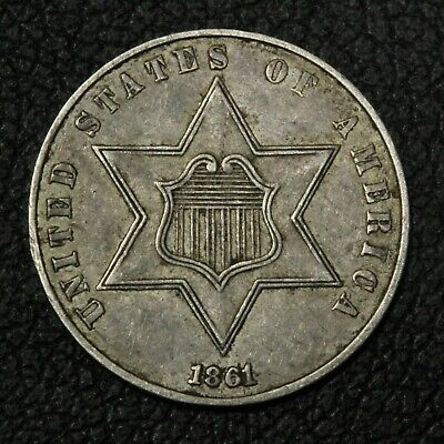 1861 Three Cent Silver Piece - 180 Degree Die Rotation!