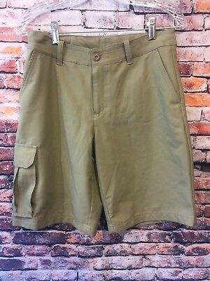 Under Armour Boys Youth Large Khaki Tan Cargo Shorts Loose Fit