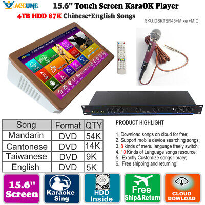 4TB HDD 87K Chinese+English Songs,15 6''Touch Screen Karaoke