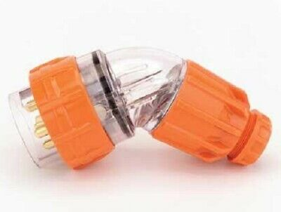 Iso ANGLED PLUG 20A 500V AC 4-Round Pin, Screw Connection, Electric Orange