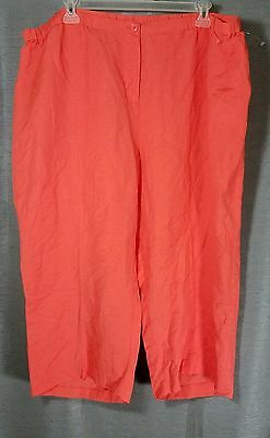 c63dd8a1cc0 Lane Bryant Womens 28 Coral Orange Linen Blend Capri Cropped Pants Nwot