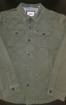 Levis Army Green Diamond Quilted Shirt Jacket Mens M