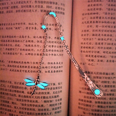 Fashion Ancient Silver Luminous Butterfly Vintage Tassel Hairpin Bookmark N7