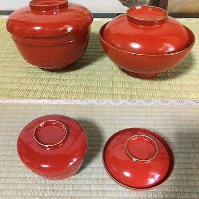 Japanese early SHOWA wooden WAN soup bowl, Vermillion red plain design (2/set)