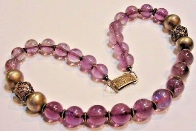 Antique Chinese Amethyst & Silver Beaded Necklace with Aesthetic Era Clasp