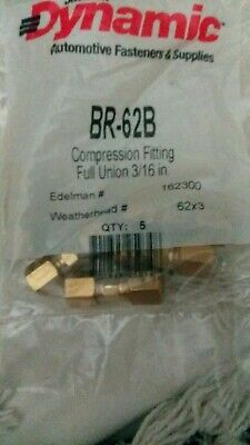 "5 PC - 3/16"" full UNION COMPRESSION FITTINGS BRASS Dynamic"