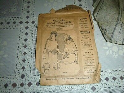 Vintage The New McCall Pattern 2080, Size 34 Ladies Blouse